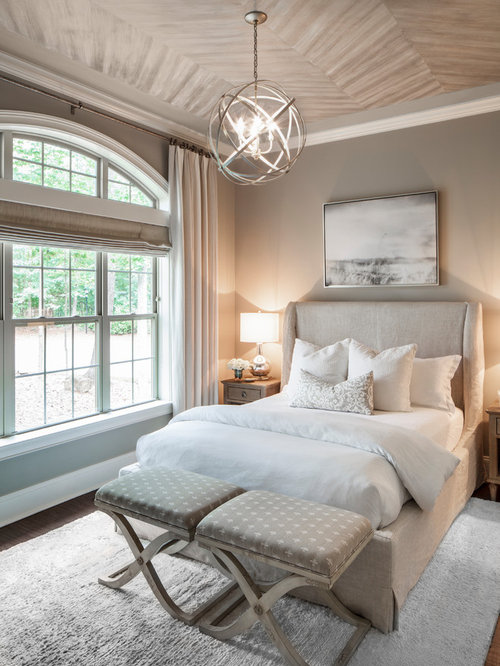 Inspiration For A Mid Sized Transitional Dark Wood Floor And Brown Floor  Bedroom Remodel In