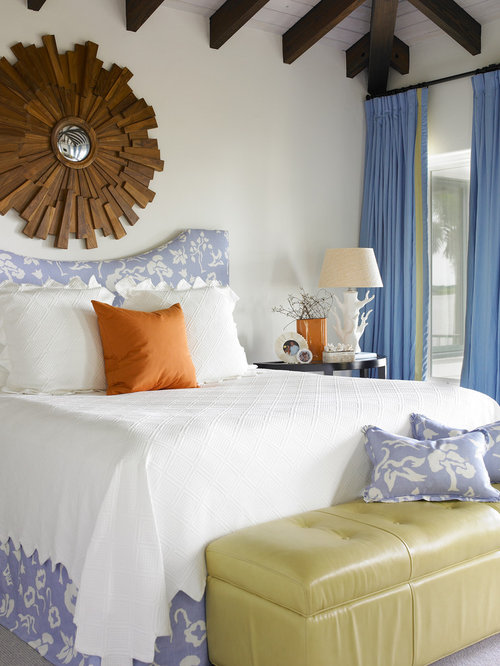 Example Of A Coastal Bedroom Design In Atlanta With White Walls