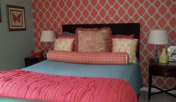 Guest Bedroom- Coral and Blue color scheme