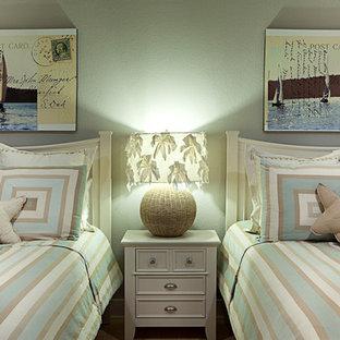Idéer för vintage gästrum, med grå väggar