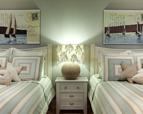 Example of a classic guest bedroom design in DC Metro with gray walls Beach House Bedroom  Houzz