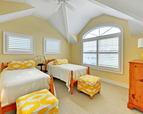 Example Of A Coastal Guest Carpeted Bedroom Design In Philadelphia With  Yellow Walls
