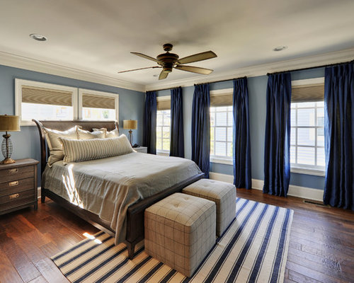 Elegant bedroom photo in Philadelphia with blue walls - Blue Curtains Houzz