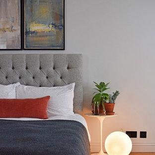 Пример оригинального дизайна: гостевая спальня среднего размера в стиле современная классика с серыми стенами, паркетным полом среднего тона, стандартным камином, фасадом камина из штукатурки и коричневым полом