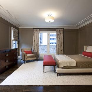 Trendy guest dark wood floor bedroom photo in Chicago with brown walls