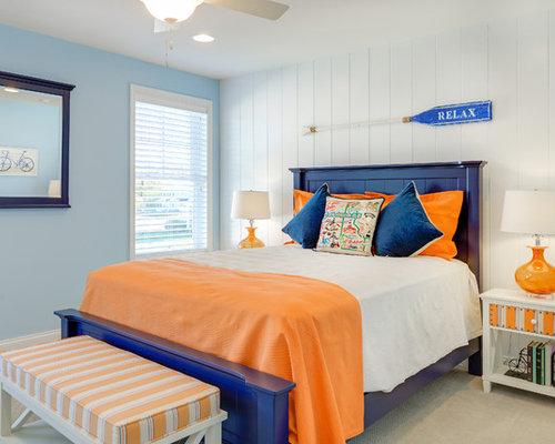 Navy blue and orange bedroom