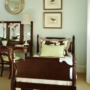 Idéer för ett litet klassiskt gästrum, med blå väggar, heltäckningsmatta och beiget golv