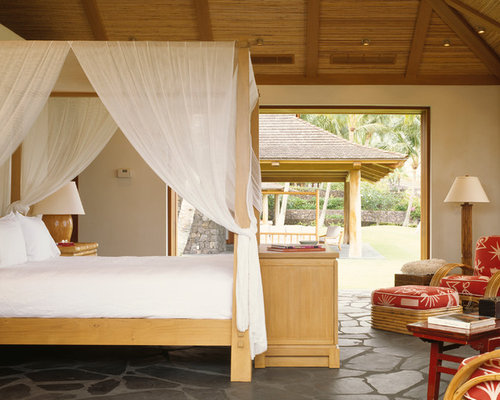 Ex&le of an island style guest bedroom design in San Francisco & Bamboo Canopy | Houzz