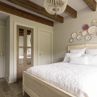Inspiration for a small cottage guest ceramic tile and gray floor bedroom remodel in Philadelphia with gray walls