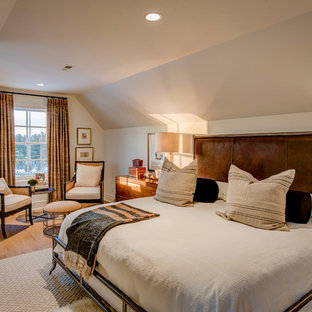 Bedroom - large transitional master light wood floor bedroom idea in Indianapolis with beige walls