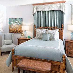 Modelo de habitación de invitados exótica, pequeña, con paredes grises y moqueta