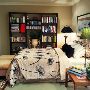 Bedroom - mid-sized eclectic loft-style carpeted and green floor bedroom idea in Brisbane with beige walls and no fireplace