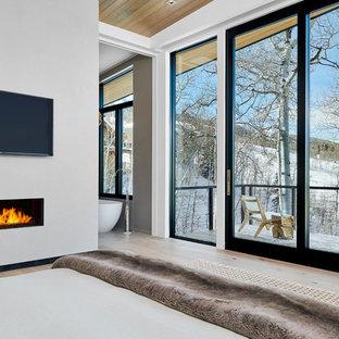 Свежая идея для дизайна: хозяйская спальня среднего размера в современном стиле с светлым паркетным полом, стандартным камином, фасадом камина из штукатурки, белыми стенами и серым полом - отличное фото интерьера