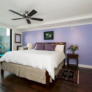 Bedroom - transitional master dark wood floor and brown floor bedroom idea in Miami with white walls