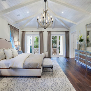 Inspiration for a transitional dark wood floor bedroom remodel in Miami with gray walls