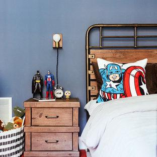 リッチモンドのトランジショナルスタイルのおしゃれな主寝室 (青い壁) のインテリア