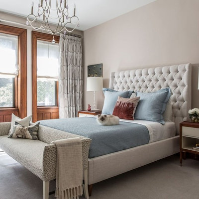 Inspiration for a large transitional master carpeted and gray floor bedroom remodel in New York with beige walls and no fireplace