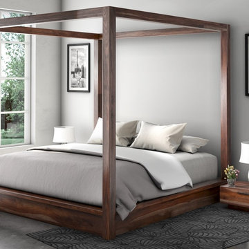 Hampshire Rustic Solid Wood Canopy Bed w Nightstands