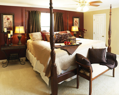 inspiration for an eclectic master bedroom remodel in other - Maroon Bedroom Interior