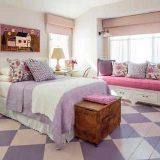 Chambre romantique avec un mur rose : Photos et idées déco de chambres