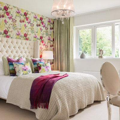 Inspiration for a timeless master carpeted bedroom remodel in London with multicolored walls