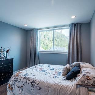 Неиссякаемый источник вдохновения для домашнего уюта: гостевая спальня среднего размера в классическом стиле с синими стенами, паркетным полом среднего тона и коричневым полом