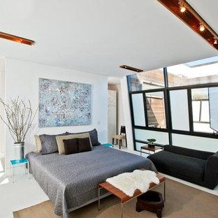 На фото: гостевая спальня среднего размера в современном стиле с белыми стенами, полом из известняка и белым полом с