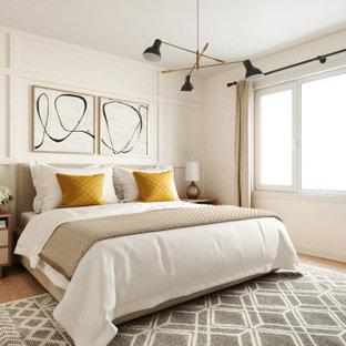モントリオールのトランジショナルスタイルのおしゃれな寝室 (白い壁、淡色無垢フローリング、ベージュの床、パネル壁) のインテリア