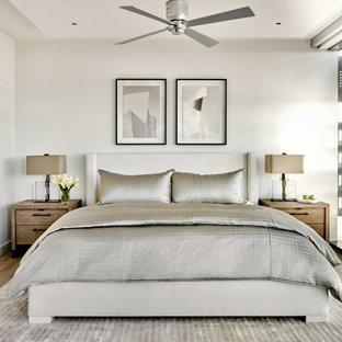 Mittelgroßes Modernes Hauptschlafzimmer mit grauer Wandfarbe, braunem Holzboden und braunem Boden in Phoenix