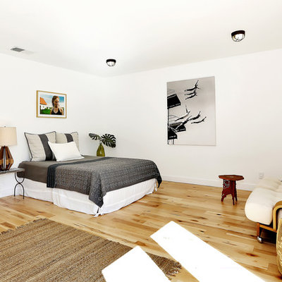 Eclectic bedroom photo in Los Angeles with white walls