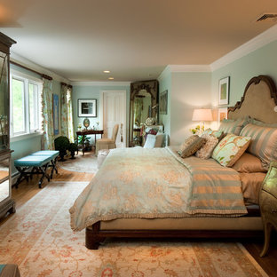 Example of a classic bedroom design in New York with green walls