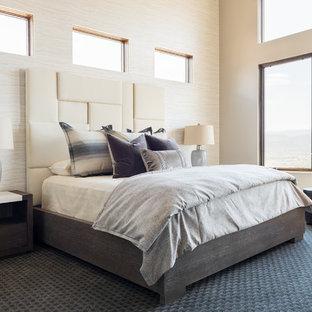 Bedroom - rustic master carpeted and black floor bedroom idea in Salt Lake City with beige walls