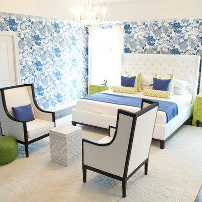 Bedroom - eclectic dark wood floor bedroom idea in Other with multicolored walls