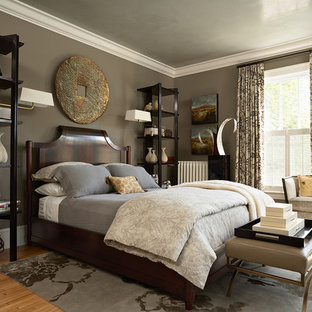 Inspiration for a classic bedroom in Minneapolis with brown walls.