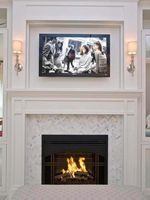 Herringbone Tile Fireplace Ideas Pictures Remodel And Decor