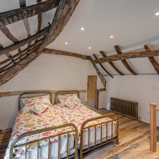 Design ideas for a rural mezzanine bedroom in Cornwall with white walls, medium hardwood flooring and brown floors.