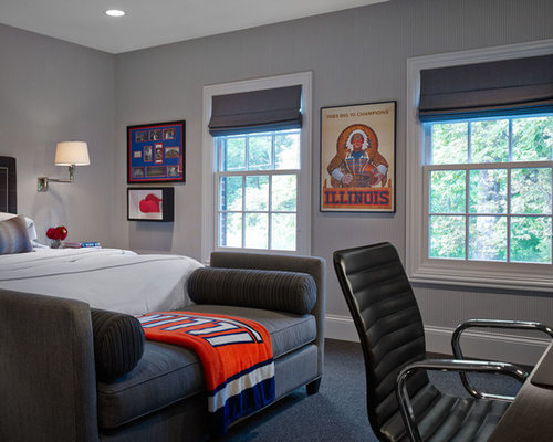 example of a transitional bedroom design in chicago with gray walls - Masculine Bedroom Design