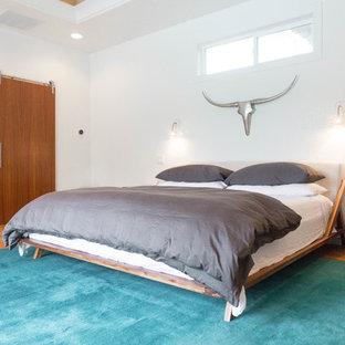 Großes Mid-Century Hauptschlafzimmer mit weißer Wandfarbe, braunem Holzboden und beigem Boden in Boise