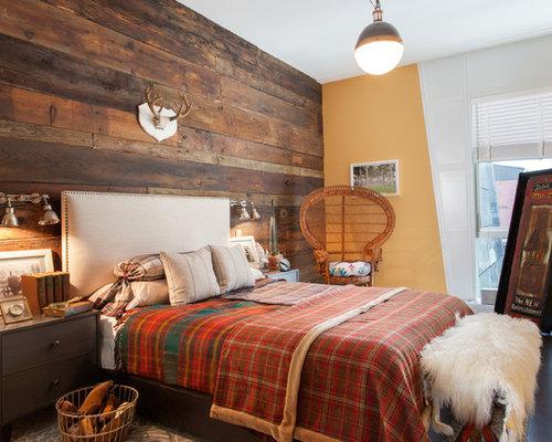 rustikale schlafzimmer mit orangefarbenen w nden ideen. Black Bedroom Furniture Sets. Home Design Ideas