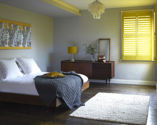 Grey Coral Yellow Teal Bedroom | Houzz