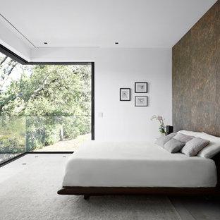 Trendy concrete floor and gray floor bedroom photo in San Francisco with brown walls