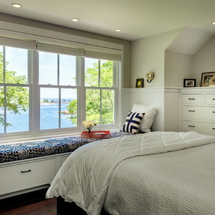 Beach style bedroom in Portland Maine with grey walls.