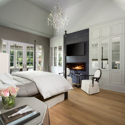 Transitional master light wood floor and beige floor bedroom photo in Detroit with gray walls, a ribbon fireplace and a tile fireplace