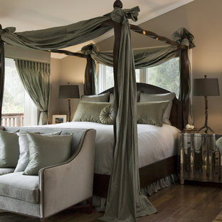 Inspiration For A Large Transitional Master Dark Wood Floor Bedroom Remodel In San Francisco With Brown