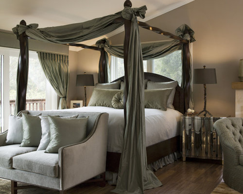 Inspiration for a large transitional master dark wood floor bedroom remodel  in San Francisco with brown. Light Green Bedroom Ideas And Photos   Houzz