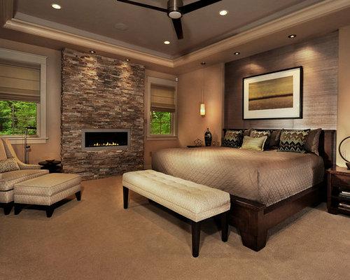 Schlafzimmer mit Ribbon-Kamin und Teppichboden - Ideen & Design ...