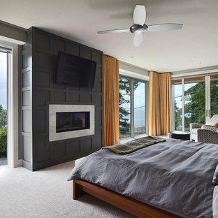 Imagen de dormitorio principal, minimalista, grande, con paredes grises, moqueta, chimenea tradicional, marco de chimenea de madera y suelo gris