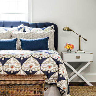 Example of a transitional bedroom design in Boston