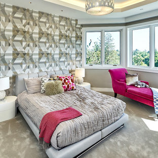 Large trendy carpeted and gray floor bedroom photo in San Francisco with gray walls