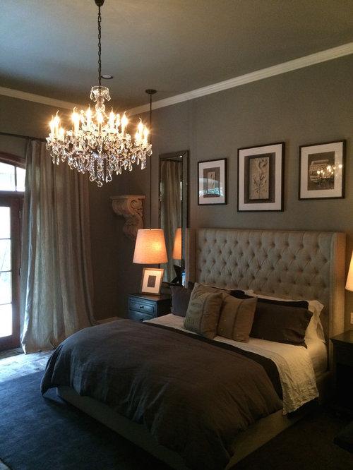 chambre adulte romantique avec un mur gris photos et id es d co de chambres adultes. Black Bedroom Furniture Sets. Home Design Ideas